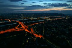 Aerial view of Vienna, Austria at night. Sunset view of Vienna, Austria, taken from the Donauturm tower royalty free stock photos