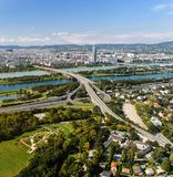 Aerial View Of Vienna. City from Donou tower Stock Images