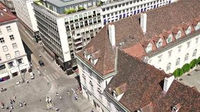 Aerial View Of Vienna City Skyline. VIENNA, AUSTRIA - AUGUST 10, 2015: Aerial View Of Vienna City Skyline From The Most Prominent Building, The Stephansdom stock video footage