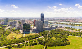 Aerial View Of Vienna City Skyline, Handelskai office district,. View from Danube tower, panorama view Stock Photography