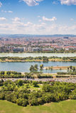 Aerial View Of Vienna City Skyline, Handelskai office district,. View from Danube tower vertical composition Stock Image
