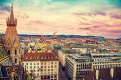 Aerial view of Vienna, Austria. Aerial view of Vienna from the north tower of St. Stephen`s Cathedral with evening colorful sky, Austria, Europe stock images