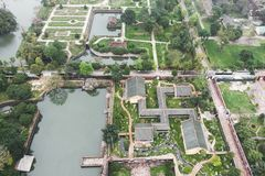 Aerial view of Vietnam ancient Tu Duc royal tomb and Gardens Of Tu Duc Emperor near Hue, Vietnam. A Unesco World Heritage Site stock image