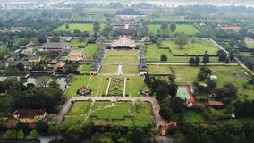 Aerial view of Vietnam ancient Tu Duc royal tomb and Gardens Of Tu Duc Emperor near Hue, Vietnam. A Unesco World stock video