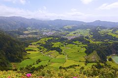Agricultural area of volcanic island near Furnas in Azores, Portugal. stock photos