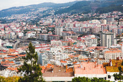 Aerial view on Vigo in Spain. Crowded blocks, offices, roads Royalty Free Stock Images