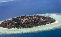 Maldives, aerial of Vihamana Fushi Kurumba, North Male atoll. Aerial view of Vihamana Fushi Kurumba island, North Male atoll, Maldives stock image
