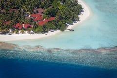 Maldives, aerial of Vihamana Fushi Kurumba, North Male atoll. Aerial view of Vihamanaafushi Kurumba, North Male atoll stock image