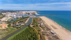 Aerial view of Vilamoura with coastline and docks, Algarve, Stock Image