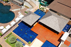 Aerial view on villa with swimming pools Stock Photography