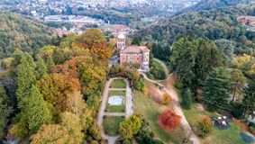 Aerial view of Villa Toeplitz with autumn park in Varese. stock images