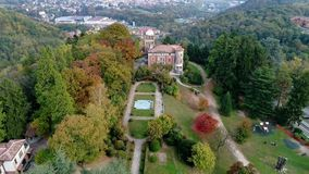 Aerial view of Villa Toeplitz with autumn park in Varese. stock footage