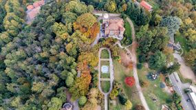 Aerial view of Villa Toeplitz with autumn park in Varese. stock image