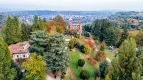 Aerial view of Villa Toeplitz with autumn park in Varese. royalty free stock image