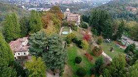 Aerial view of Villa Toeplitz with autumn park in Varese. stock video