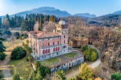 Aerial view of Villa Toeplitz in Sant Ambrogio of Varese, Italy royalty free stock image