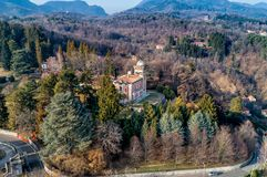 Aerial view of Villa Toeplitz in Sant Ambrogio of Varese, Italy royalty free stock photography