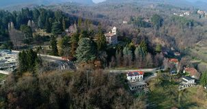 Aerial view of Villa Toeplitz in Sant Ambrogio of Varese, Italy. Aerial view of Villa Toeplitz in Sant Ambrogio of Varese, Lombardy, Italy stock video