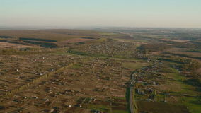 Aerial view for the village stock video footage