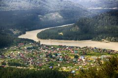 Aerial view of village in Altai mountains Stock Photos