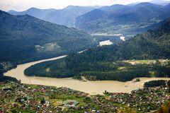 Aerial view of village in Altai mountains Royalty Free Stock Photos