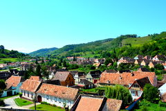 Aerial view of the village Biertan, Transylvania Royalty Free Stock Image