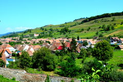 Aerial view of the village Biertan, Transylvania. Royalty Free Stock Photography