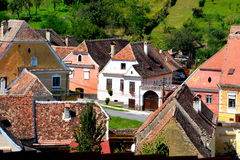Aerial view of the village Biertan, Transylvania. Royalty Free Stock Photo