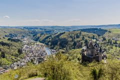 Aerial view of the village and castle in Vianden stock photo