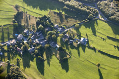 Aerial View : Village in the countyside. With fields and meadows Stock Images