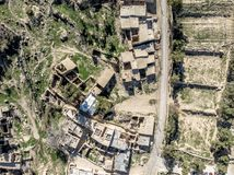Aerial view of the village Dana and its surroundings at the edge of the Biosphere Reserve of Dana in Jordan. Made with drone Royalty Free Stock Photo