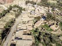 Aerial view of the village Dana and its surroundings at the edge of the Biosphere Reserve of Dana in Jordan. Made with drone Royalty Free Stock Images
