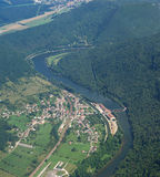 Aerial view of the village Deluz and river Doubs Stock Photography