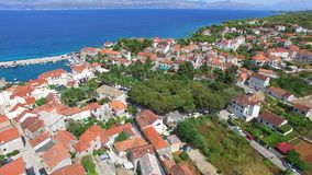 Aerial view of the village of Dol on the island of Brac. stock footage