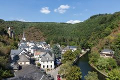 Free Aerial View Village Esch-sur-Sure In Luxembourg Stock Photography - 150503352
