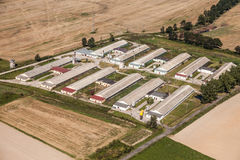 Aerial view of   village  farm Stock Photography