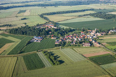 Aerial view of the  village harvest fields  morning landscape Royalty Free Stock Photography