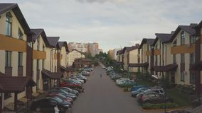 Aerial view of the village and the houses. Clip. Townhouses. Street.  stock video