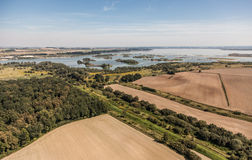 Aerial view of   village  landscape. Harvest fields near Otmuchow town in Poland Stock Images