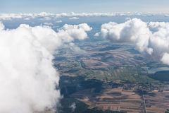 Aerial view of  the village landscape near Pinczow town over clo Stock Image
