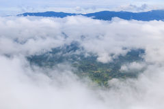 Aerial View of Village landscape and River over Clouds in Chiangdao , Thailand Stock Image