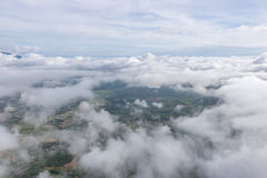 Aerial View of Village landscape and River over Clouds in Chiangdao , Thailand Royalty Free Stock Photos