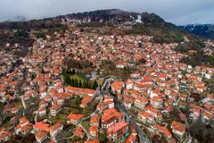 Aerial view of the village Metsovo in Epirus, northern Greece Stock Images