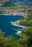 Aerial view of a village Nago-Torbole stock photo