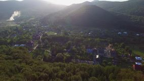Aerial View Village Near Forest stock footage