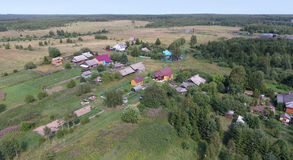 Aerial view of village near the Pereslavl-Zalessky city, Yarosla Royalty Free Stock Photos