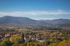 Aerial view from the village of Obernai, Alsace, France. Beautiful autumn time. Aerial view from the village of Obernai, Alsace, France. Autumn time stock photo