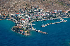 Aerial view of village and port of Pachi, Greece Royalty Free Stock Photo