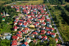 Aerial view of village. Aerial view of the private houses Stock Images