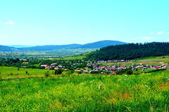 Aerial view the village Racos, Transylvania. Green landscape Stock Photography